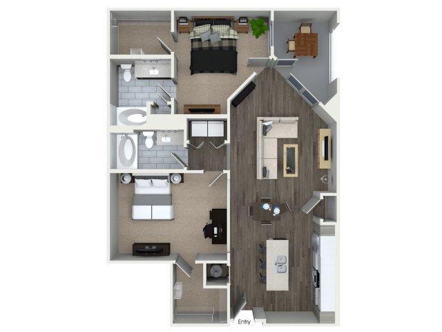 Two bedroom two bathroom B3 floorplan at 555 Ross Avenue Apartments in Dallas, TX