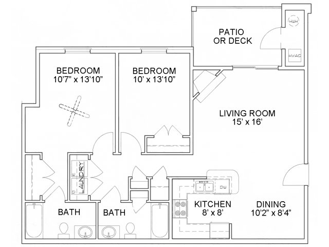 Two bedroom two bathroom B1 Floorplan at River Forest Apartments in Chester, VA