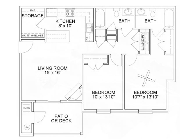 Two bedroom two bathroom B11 Floorplan at River Forest Apartments in Chester, VA