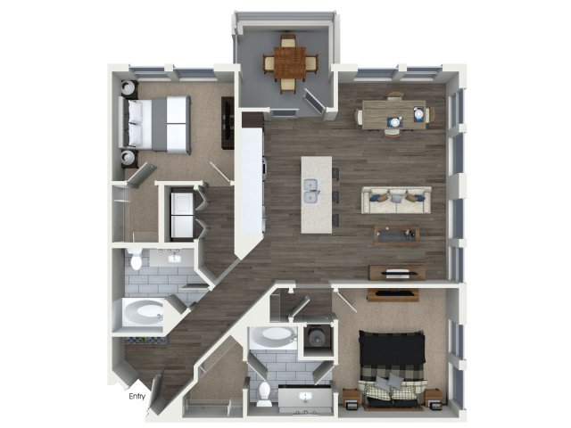 Two bedroom two bathroom B21 floorplan at 555 Ross Avenue Apartments in Dallas, TX