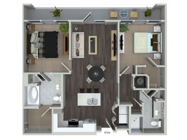 Two bedroom two bathroom B1 floorplan at 555 Ross Avenue Apartments in Dallas, TX