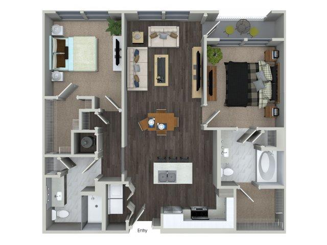 Two bedroom two bathroom B12 floorplan at 555 Ross Avenue Apartments in Dallas, TX