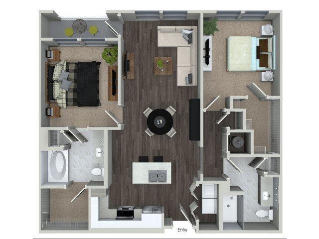 Two bedroom two bathroom B11 floorplan at 555 Ross Avenue Apartments in Dallas, TX