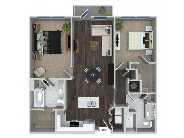 Two bedroom two bathroom B13 floorplan at 555 Ross Avenue Apartments in Dallas, TX