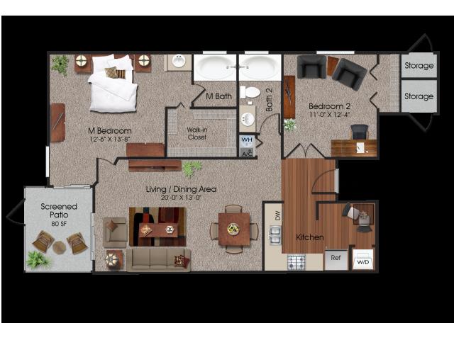 2 bedroom 2 bathroom apartment at Siena Apartments in Plantation, FL
