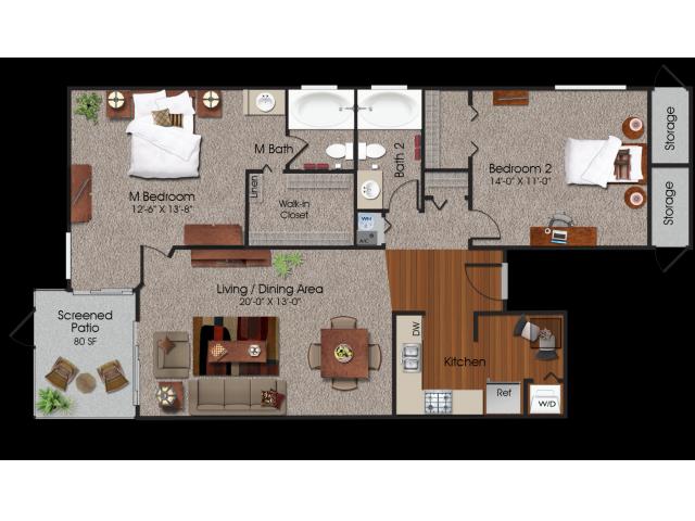 2 bedroom 2 bathroom apartment in Siena Apartments in Plantation, FL