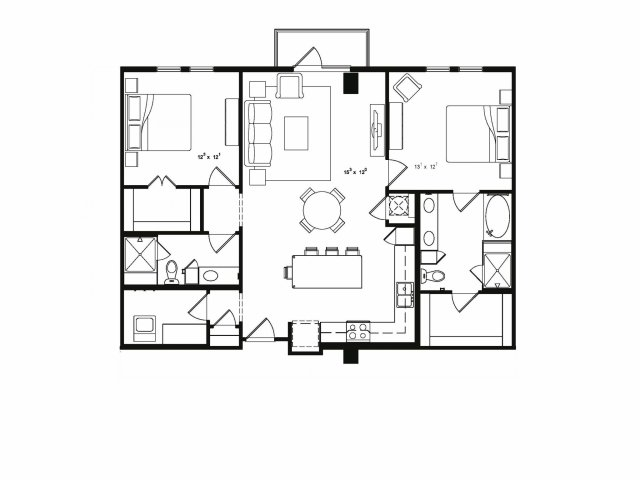Two bedroom two bathroom B3 floor plan at Cantabria at Turtle Creek Apartments in Dallas, TX