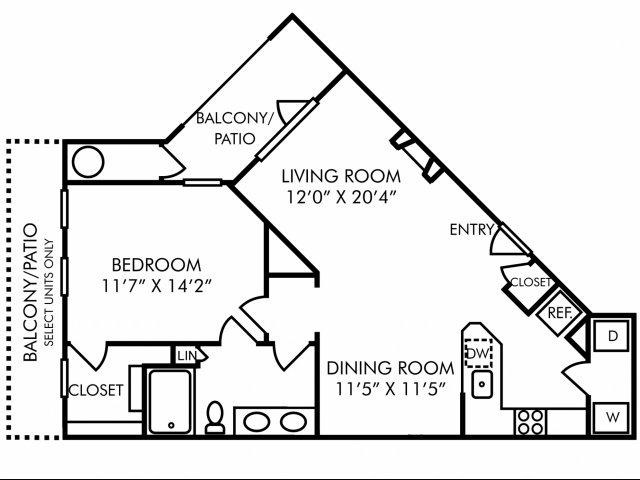 One bedroom one bathroom A5 floorplan at Westwind Farms Apartments in Ashburn, VA