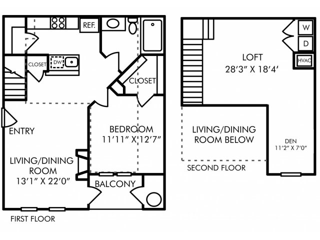 One bedroom one bathroom A9DL floorplan at Westwind Farms Apartments in Ashburn, VA