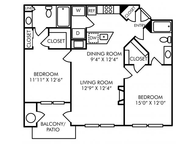 Two bedroom two bathroom B1 floorplan at Westwind Farms Apartments in Ashburn, VA
