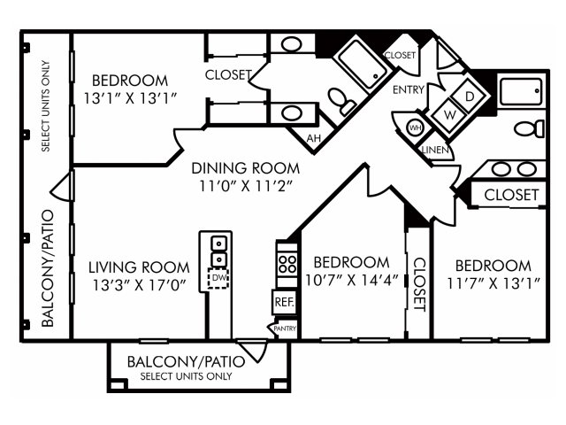 Three bedroom two bathroom C1 floorplan at Westwind Farms Apartments in Ashburn, VA