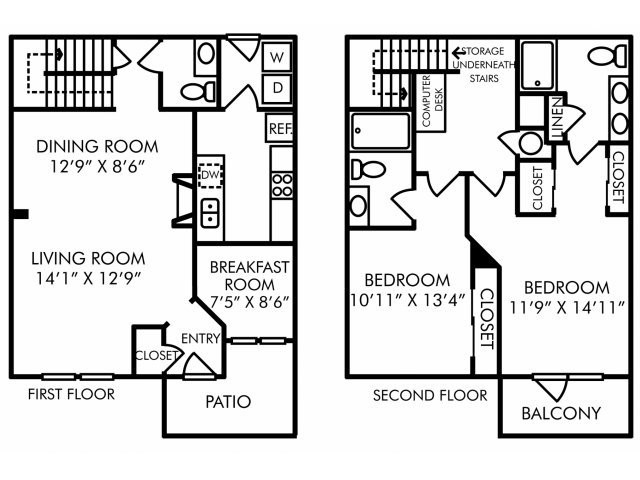 Two bedroom two and a half bathroom B9TH floorplan at Westwind Farms Apartments in Ashburn, VA