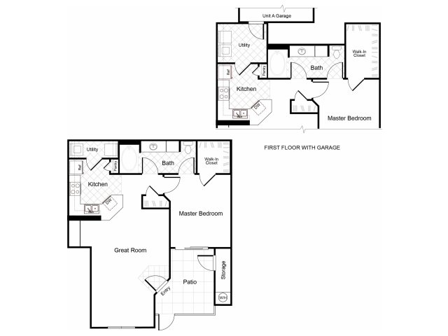 1 bedroom 1 bathroom A1 floorplan at Cambria Apartments in Gilbert , AZ