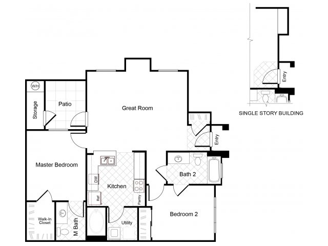 2 bedroom 2 bathroom B1 floorplan at Cambria Apartments in Gilbert, AZ