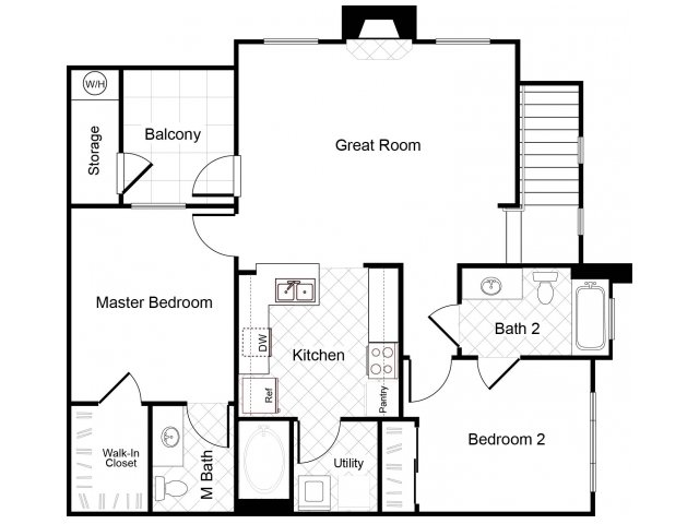 2 bedroom 2 bathroom B2 floorplan at Cambria Apartments in Gilbert, AZ