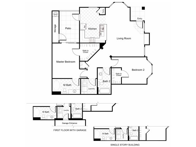 2 bedroom 2 bathroom B4 floorplan at Cambria Apartments in Gilbert, AZ