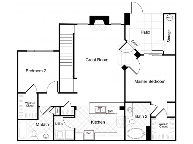 2 bedroom 2 bathroom B5 floorplan at Cambria Apartments in Gilbert, AZ