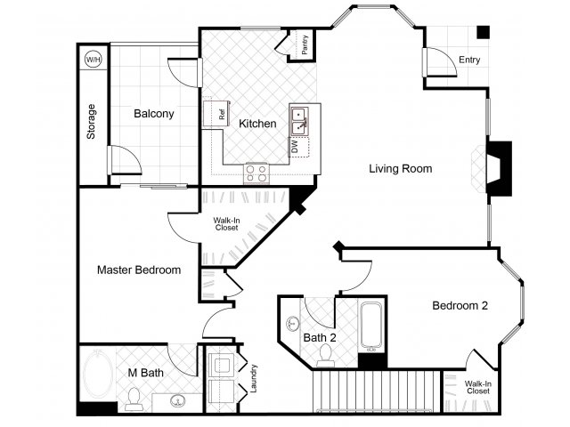 2 bedroom 2 bathroom B6 floorplan at Cambria Apartments in Gilbert, AZ