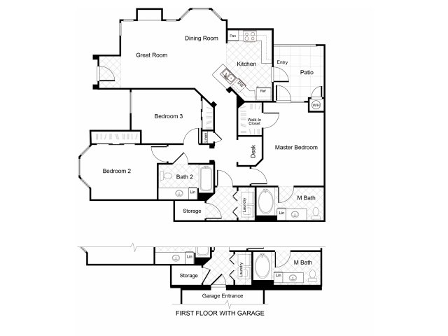 3 bedroom 2 bathroom C1 floorplan at Cambria Apartments in Gilbert, AZ