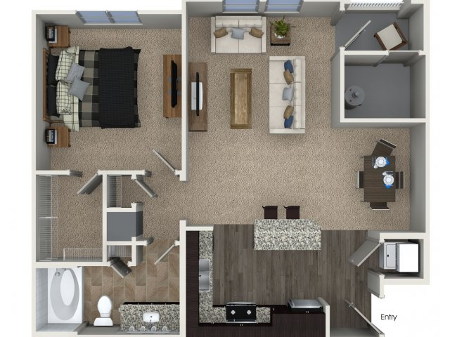 One bedroom one bathroom A1 Floorplan at Skye Apartments in Vista, CA