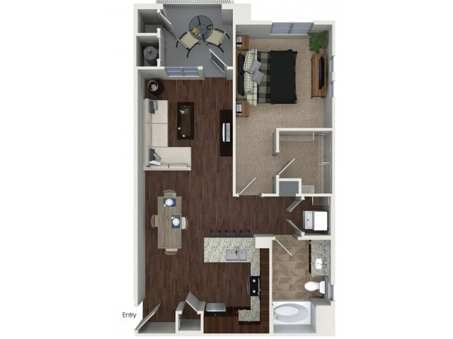 One bedroom one bathroom A2 Floorplan at Skye Apartments in Vista, CA
