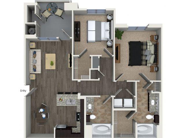Two bedroom two bathroom B1 Floorplan at Skye Apartments in Vista, CA
