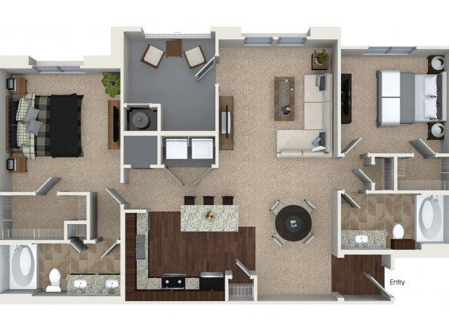 Two bedroom two bathroom B2 Floorplan at Skye Apartments in Vista, CA