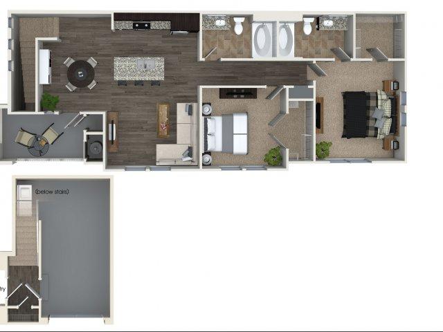 Two bedroom two bathroom B3 Floorplan at Skye Apartments in Vista, CA