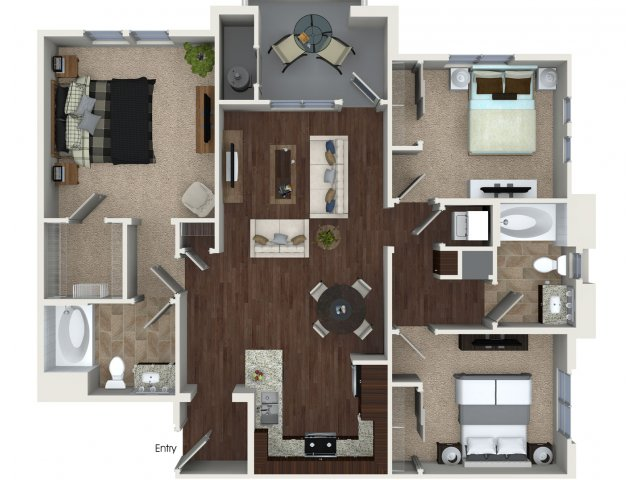 Three bedroom two bathroom C1 Floorplan at Skye Apartments in Vista, CA