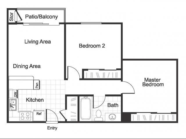 2 Bedroom 1 Bathroom B2 floorplan at Hidden Creek Apartments in Marinez, CA