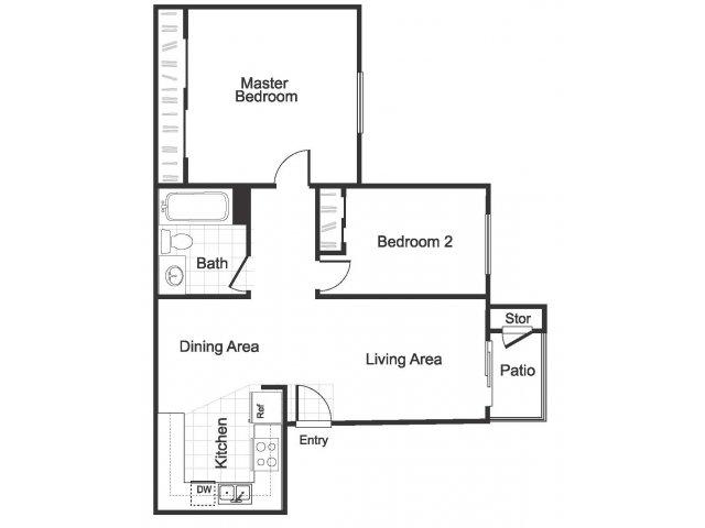 2 Bedroom 1 Bathroom B3 floorplan at Hidden Creek Apartments in Marinez, CA