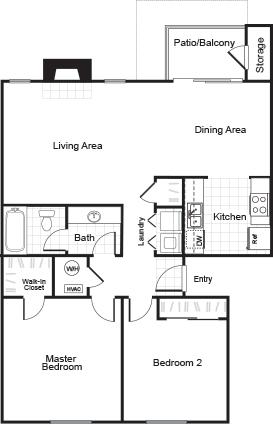 2 bedroom 1 bathroom B1 floorplan at Sorelle Apartments in Moreno Valley, CA
