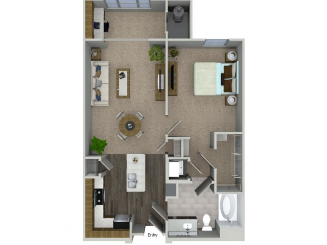 A1S 1 bedroom 1 bathroom floorplan at Talia Apartments in Marlborough, MA