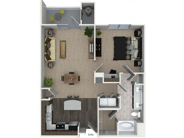 A2 1 bedroom bathroom floorplan at Talia Apartments in Marlborough, MA