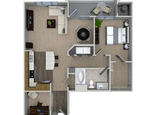 A3D 1 bedroom 1 bathroom floorplan at Talia Apartments in Marlborough, MA