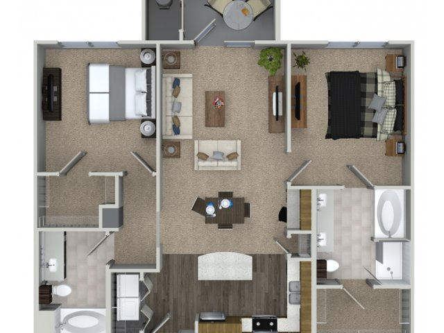 2 bedroom 2 bathroom B2 floorplan at Talia Apartments in Marlborough, MA