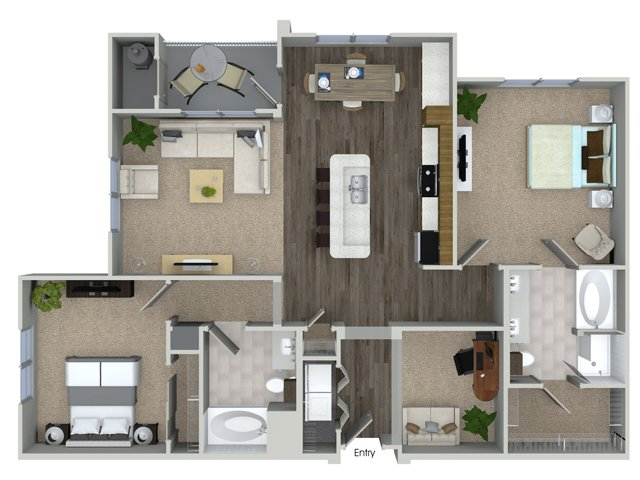 2 bedroom 2 bathroom B4D floorplan at Talia Apartments in Marlborough, MA