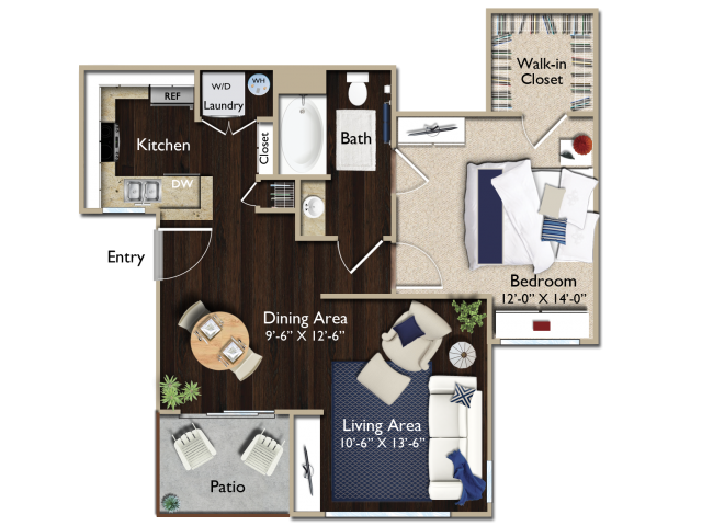 One bedroom one bathroom A1 floorplan at Atwood Apartments in Citrus Heights, CA