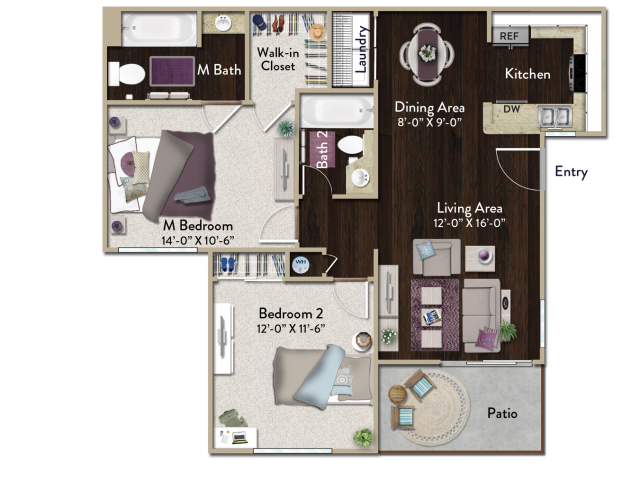 Two bedroom two bathroom B1 Floorplan at Atwood Apartments in Citrus Heights, CA