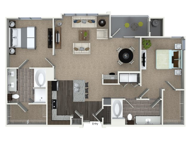 2 bedroom 2 bathroom B3A floorplan at Talia Apartments in Marlborough, MA