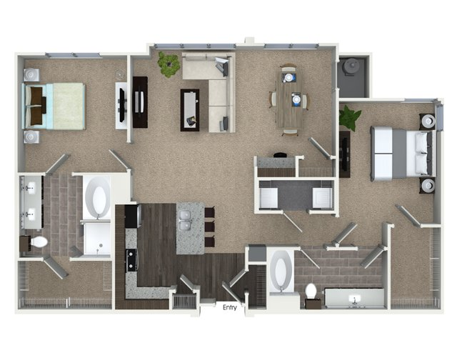 2 bedroom 2 bathroom B3SA floorplan at Talia Apartments in Marlborough, MA