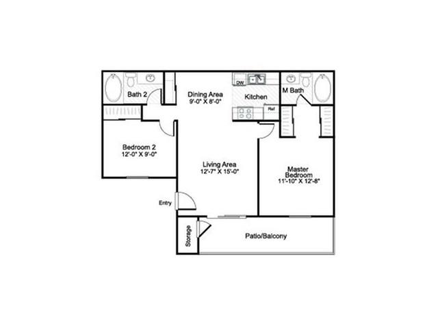 2 Bedroom 2 Bathroom B2 floorplan at Sora Apartments in Union City, CA