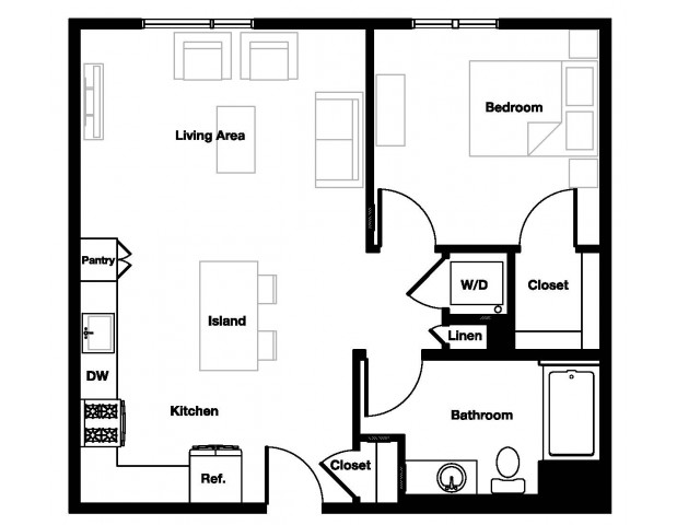One bedroom one bathroom A1 Floorplan at L Seven Apartments in San Francisco, CA