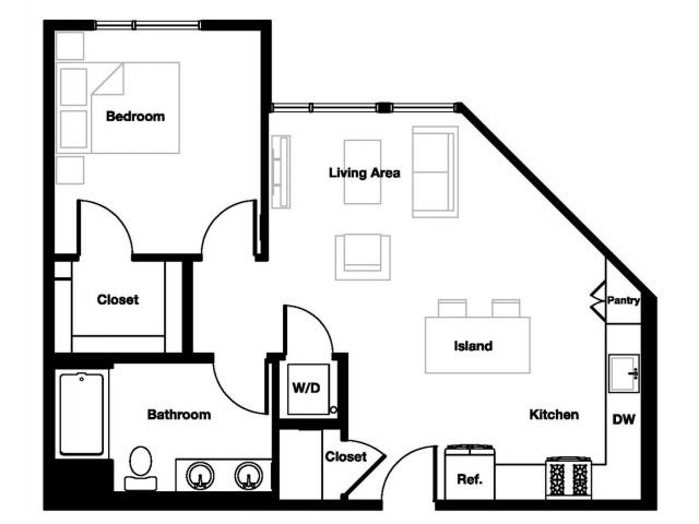 One bedroom one bathroom A3 Floorplan at L Seven Apartments in San Francisco, CA