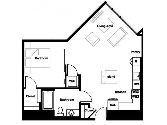 One bedroom one bathroom A7 Floorplan at L Seven Apartments in San Francisco, CA