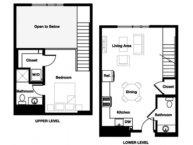 One bedroom one and a half bathroom A11L Floorplan at L Seven Apartments in San Francisco, CA