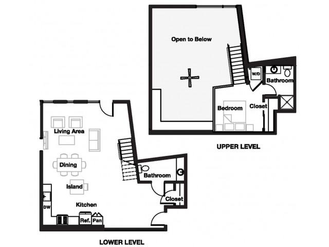 One bedroom one and a half bathroom A14L Floorplan at L Seven Apartments in San Francisco, CA