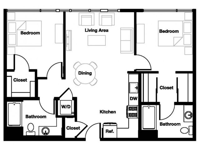 Two bedroom two bathroom B1 Floorplan at L Seven Apartments in San Francisco, CA