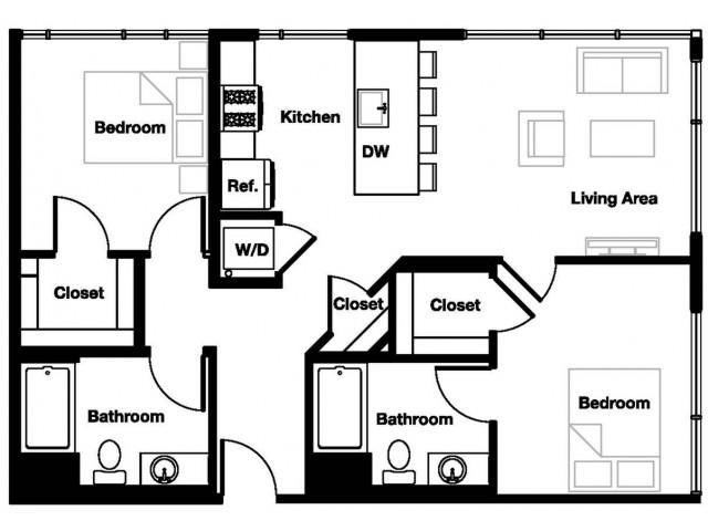 Two bedroom two bathroom B2 Floorplan at L Seven Apartments in San Francisco, CA