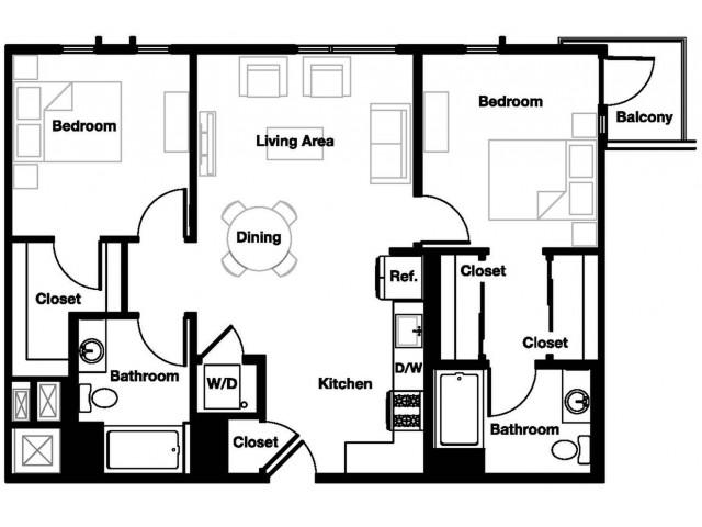 Two bedroom two bathroom B5 Floorplan at L Seven Apartments in San Francisco, CA